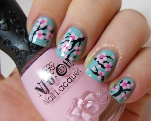 Cherry blossom nails Other designs too - 25 Amazing Flower Nail Art Designs ‹ ALL FOR FASHION DESIGN The