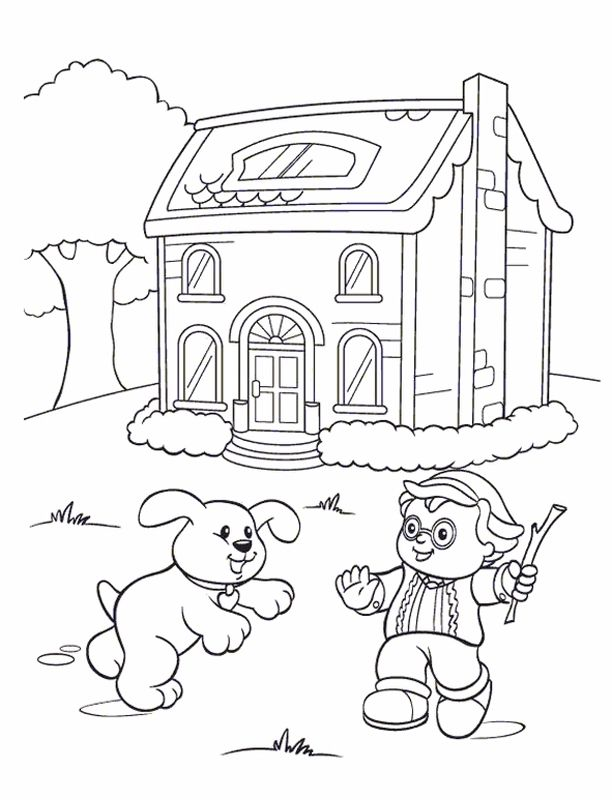 little people playing fetch color pages coloring pages for kids people coloring pages. Black Bedroom Furniture Sets. Home Design Ideas