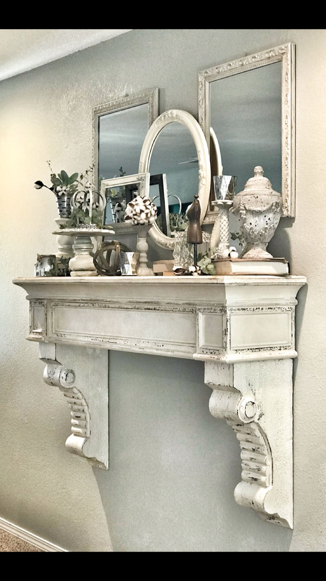 Gorgeous Faux Mantle From Real Deals Home Decor Decorated Farmhouse Shabby Chic French Style Shabby Chic Decor Bedroom Faux Fireplace Shabby Chic Bathroom