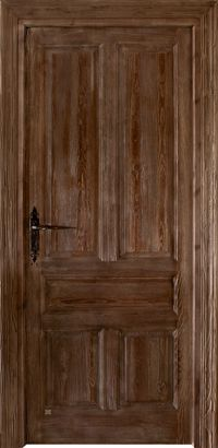 Puerta de una hoja de estilo castellano con cuarterones simples moldurados a doble cara y veta sacada. Realizada en madera de pino Flandes. Herrajes rústicos. Manivela rústica incluida. Acabado anticuario con pátina de cera.