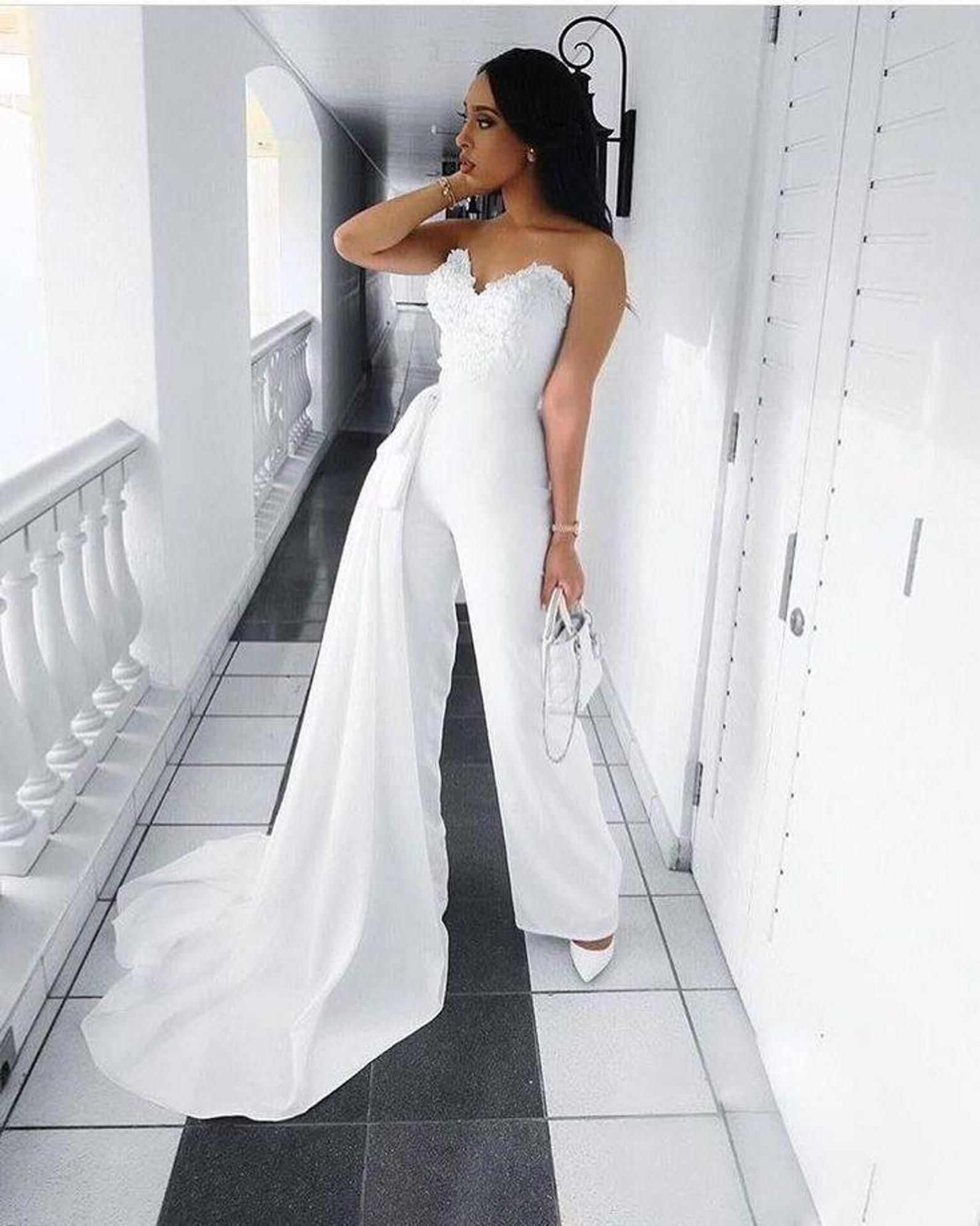 White Women S Wedding Reception Jumpsuitwomens Party Etsy Wedding Reception Outfit Bridal Jumpsuit Jumpsuit Elegant [ 1986 x 1588 Pixel ]