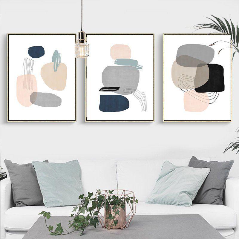 Geometric Abstract Scandi Print Set Of 3 Geometric Modern Art Etsy Modern Art Living Room Pink Grey Wall Art Modern Artwork Abstract