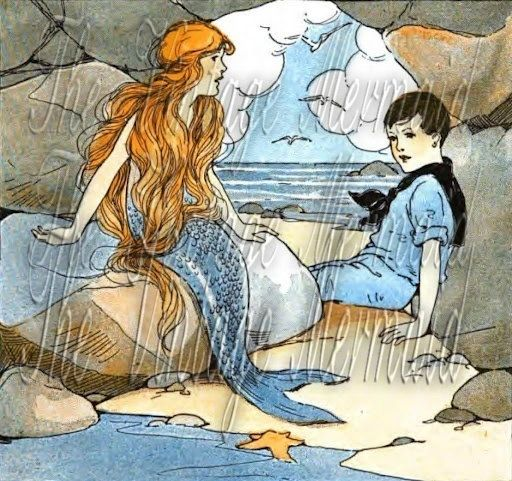 Fabric Block Quilting Blocks Applique Vintage Mermaid Childrens Story Book Illustration by wwwfabricblockcom $7.00