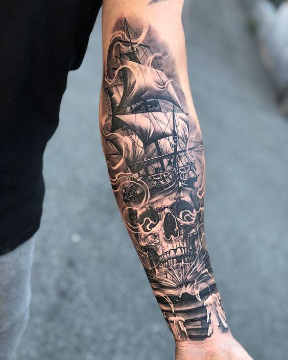 Pirates Ships Tattoo 70 Half Sleeve Tattoo Ideas Tattoos For Guys Badass Arm Tattoos For Guys Cool Arm Tattoos