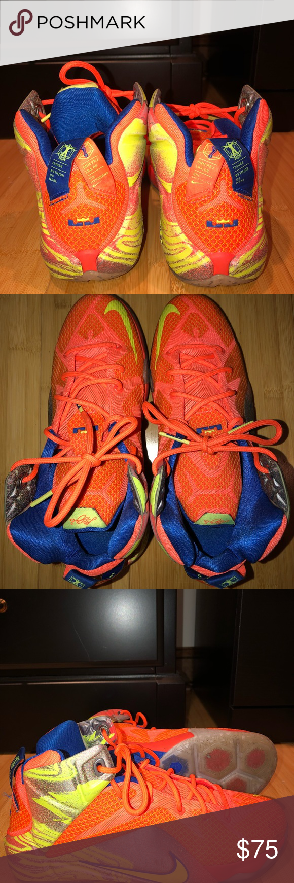 outlet store d2076 16962 nike lebron basketball shoe nike lebron 12 orange volt ...