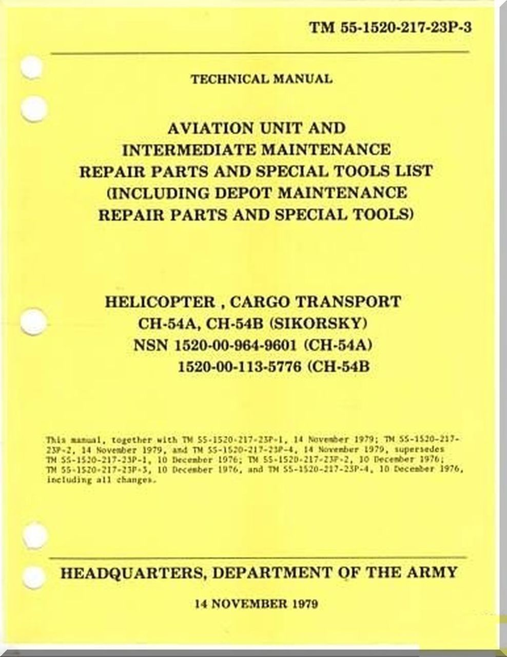 Sikorsky S64 CH54 A B Helicopter Maintenance and Parts