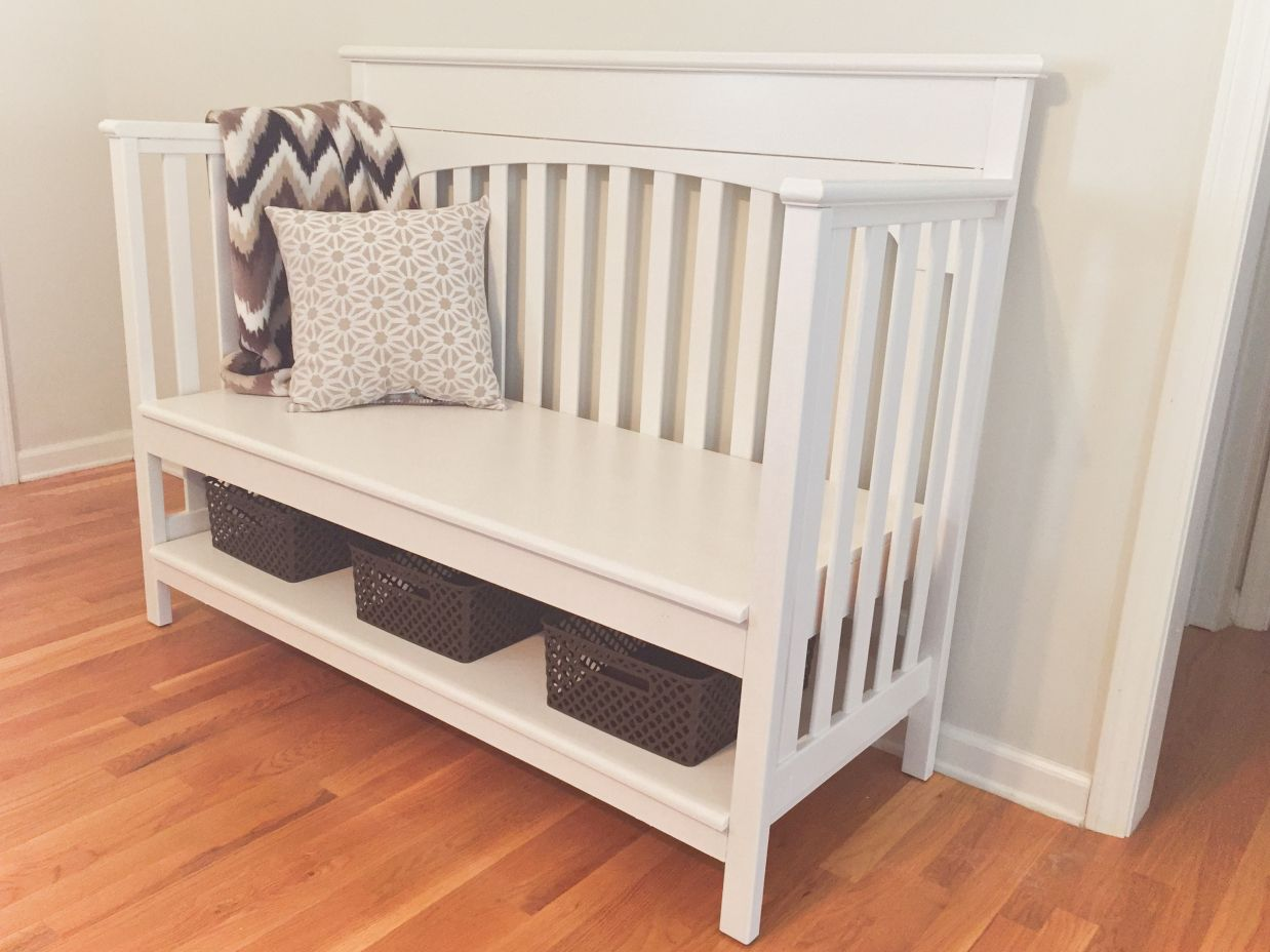 Repurposed Crib To Bench, DIY, Navy Wife, Military, Nurse .