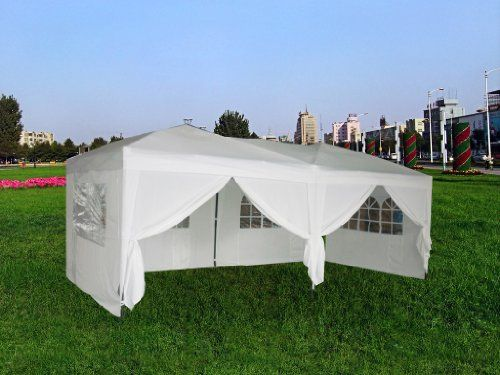 exacme white 10x20 ft easy pop up wedding canopy party tent gazebo with side walls and - 10x20 Pop Up Canopy