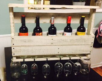 Botellero de madera reciclada por duckpalletco en etsy - Botellero de madera para vino ...