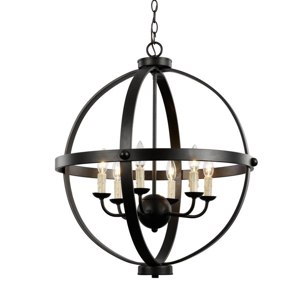 Bel Air Lighting 6 Light Rustic Axel Rubbed Oil Bronze Chandelier