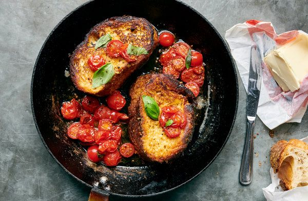 Savory French Toast With Cherry Tomatoes and Basil Recipe ...