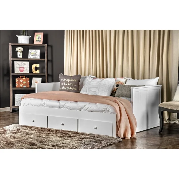 Furniture of America Daja Cottage Full Solid Wood Storage Daybed