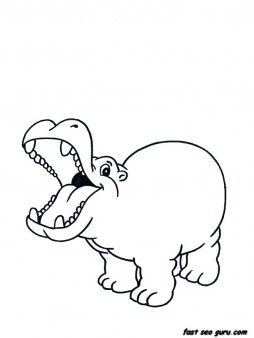 Free Printable Africa Animal Little Hippo Coloring Pages For Kids