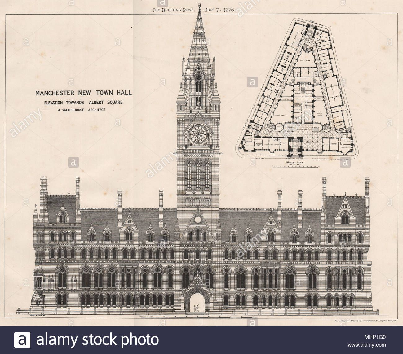 Manchester New Town Hall Elevation Towards Albert Squre A Waterhouse 1876 Stock Photo Manchester Town Hall New Town Town Hall