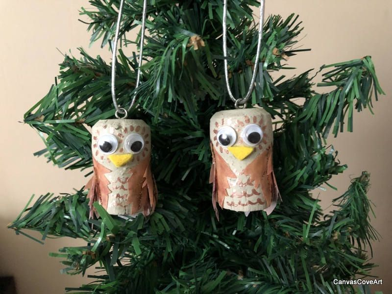Champagne Wine Cork OWL Christmas Tree Ornaments Set of 2 Hand
