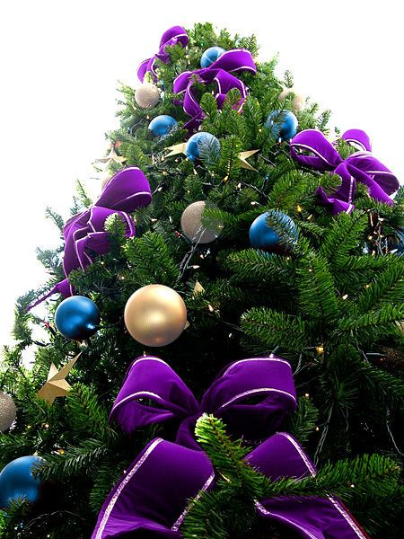 Violet Bead Christmas Tree with Blue  Silver Ornaments Christmas - blue and silver christmas decorationschristmas tree decorations