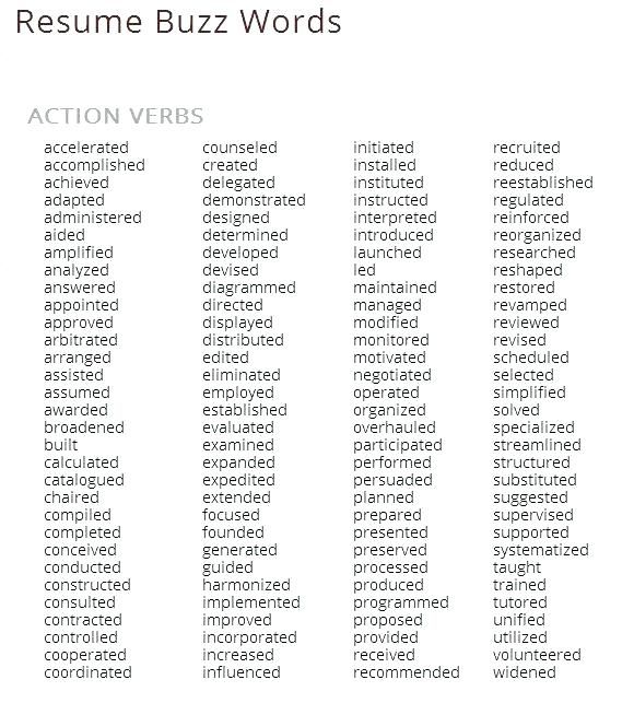 good descriptive words for a resume   positive words to