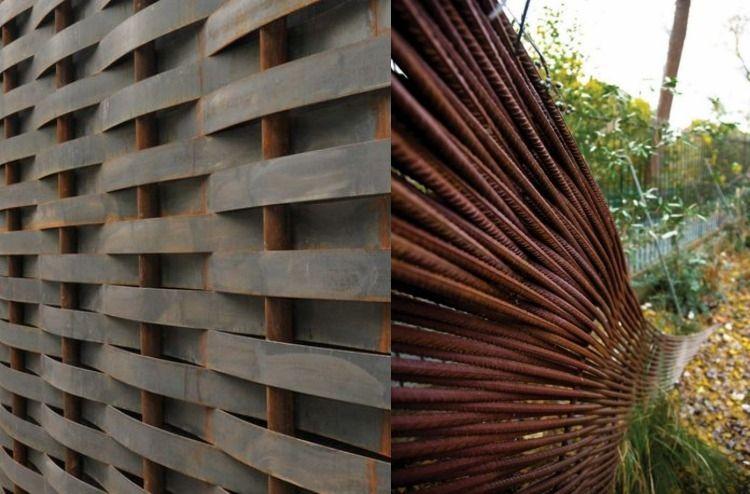 Cortenstahl Garten Einsatz Zaun Sichtschutz Geflecht Haus Corten