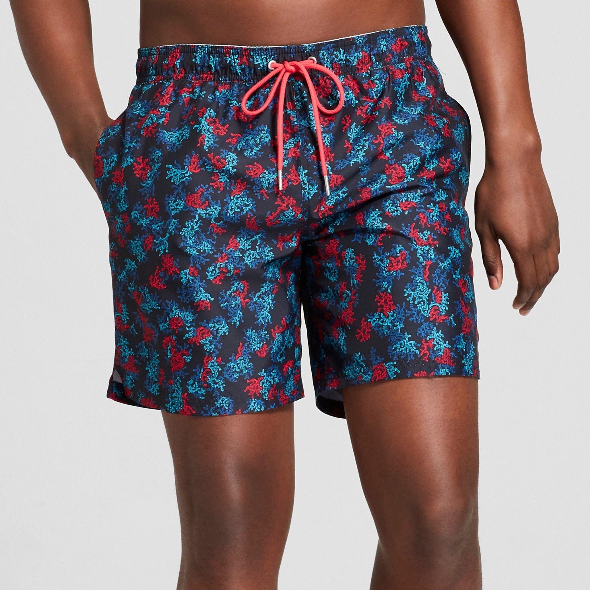 205044d59cce9 Men's 7 Tropical Floral Print Swim Trunks - Goodfellow & Co Black M ...