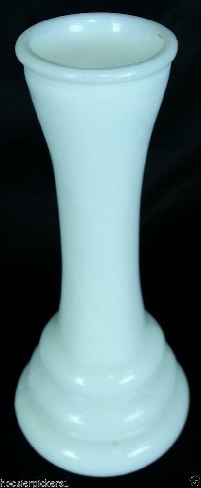 White Milk Pressed Glass Vase Randall Vase Depression Retro 6 Tall