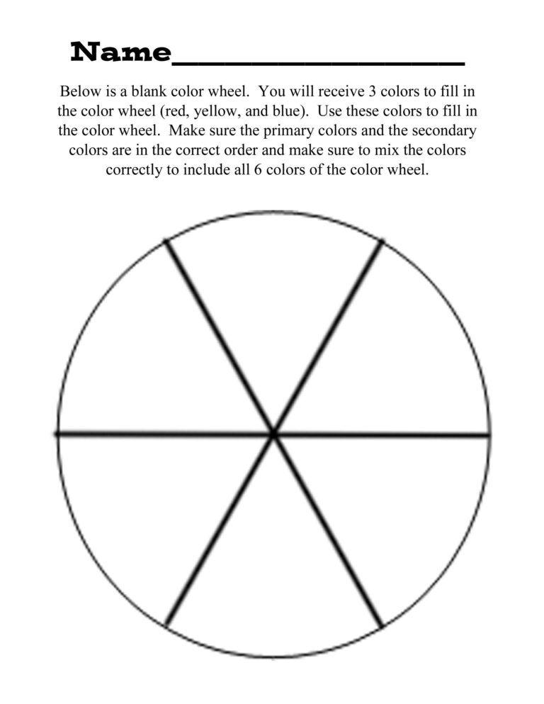 Blank Color Wheel Colour Chart Worksheet Template Printable
