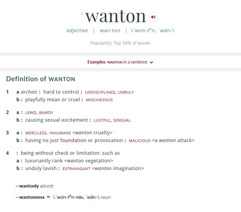 wordoftheday wotd wanton courtesy of merriamwebster  religion merriam webster wordoftheday of