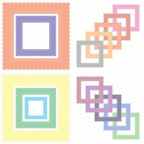 Pastel Scallop Square Digital Frames Squares Clip Art Clipart Download