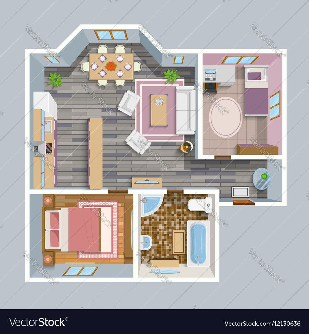 Architectural Flat Plan Top View Vector Image On Plan Malenkogo