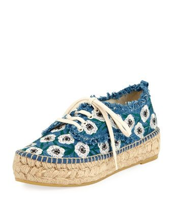 Alfie Floral Lace-Up Espadrille Sneaker by Loeffler Randall at Neiman Marcus.