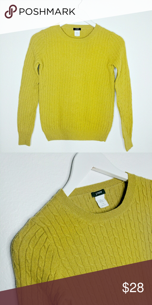 "J.Crew Cambrige Cable Knit Sweater Classic crew neck sweater. Great Condition, warm and cozy.  Chartreuse Green in color. Measures Chest 16"" Length 21"" J. Crew Sweaters Crew & Scoop Necks"