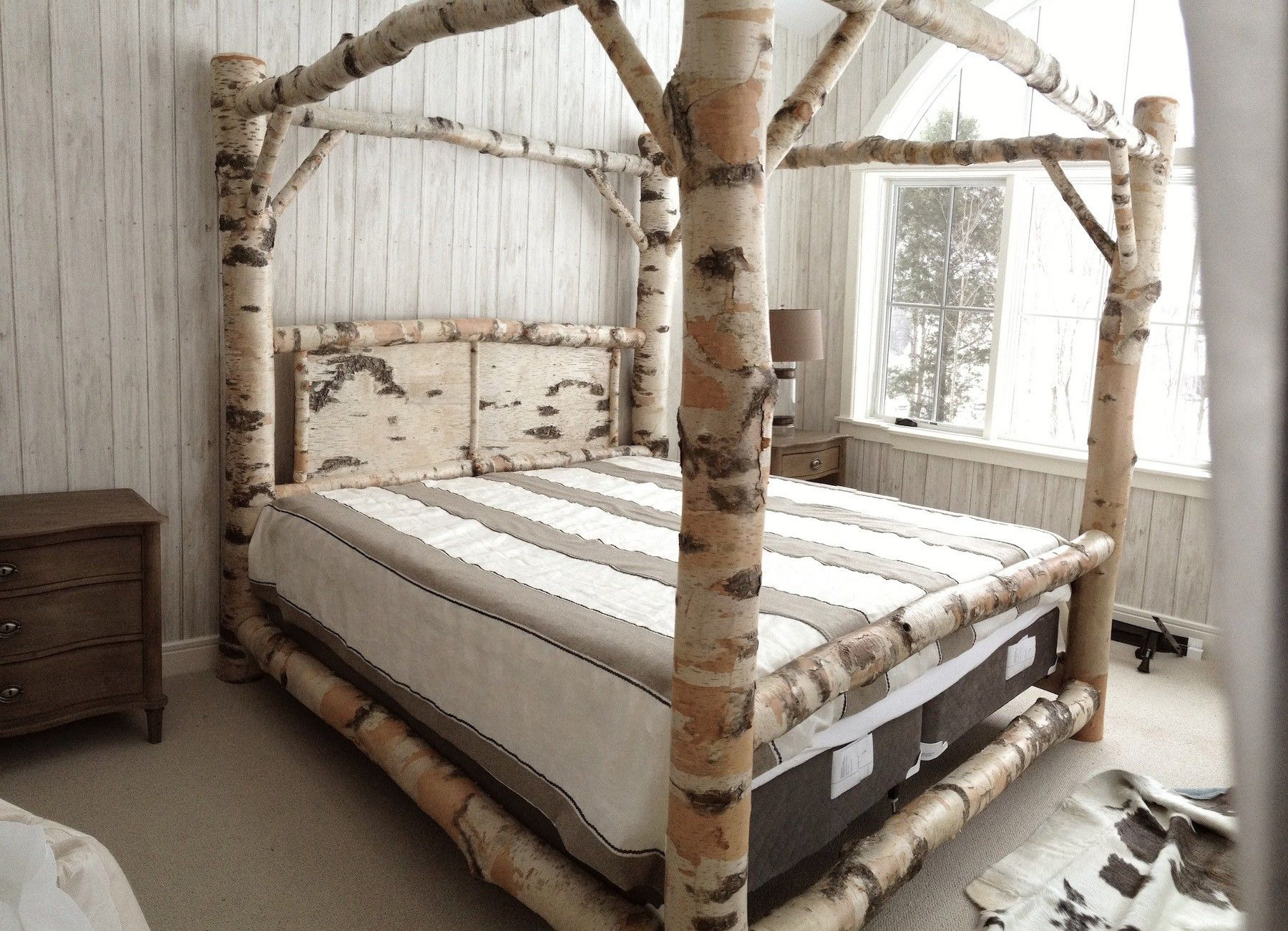 Size beds untreated bamboo canopy frame full bed size and - Cool queen bed frames ...