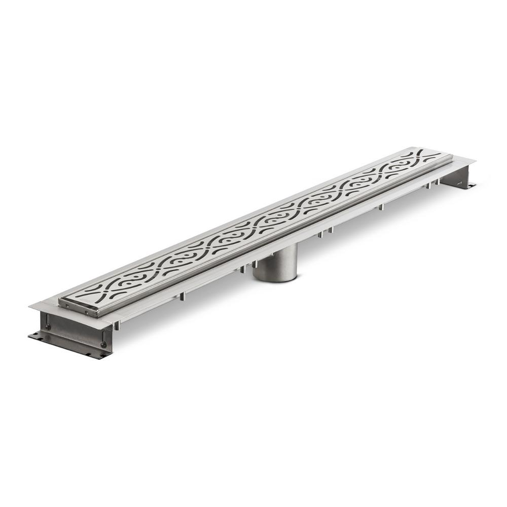 Zurn 32 In Stainless Steel Linear Shower Drain With Serenity Grate Zs880 32 Sg