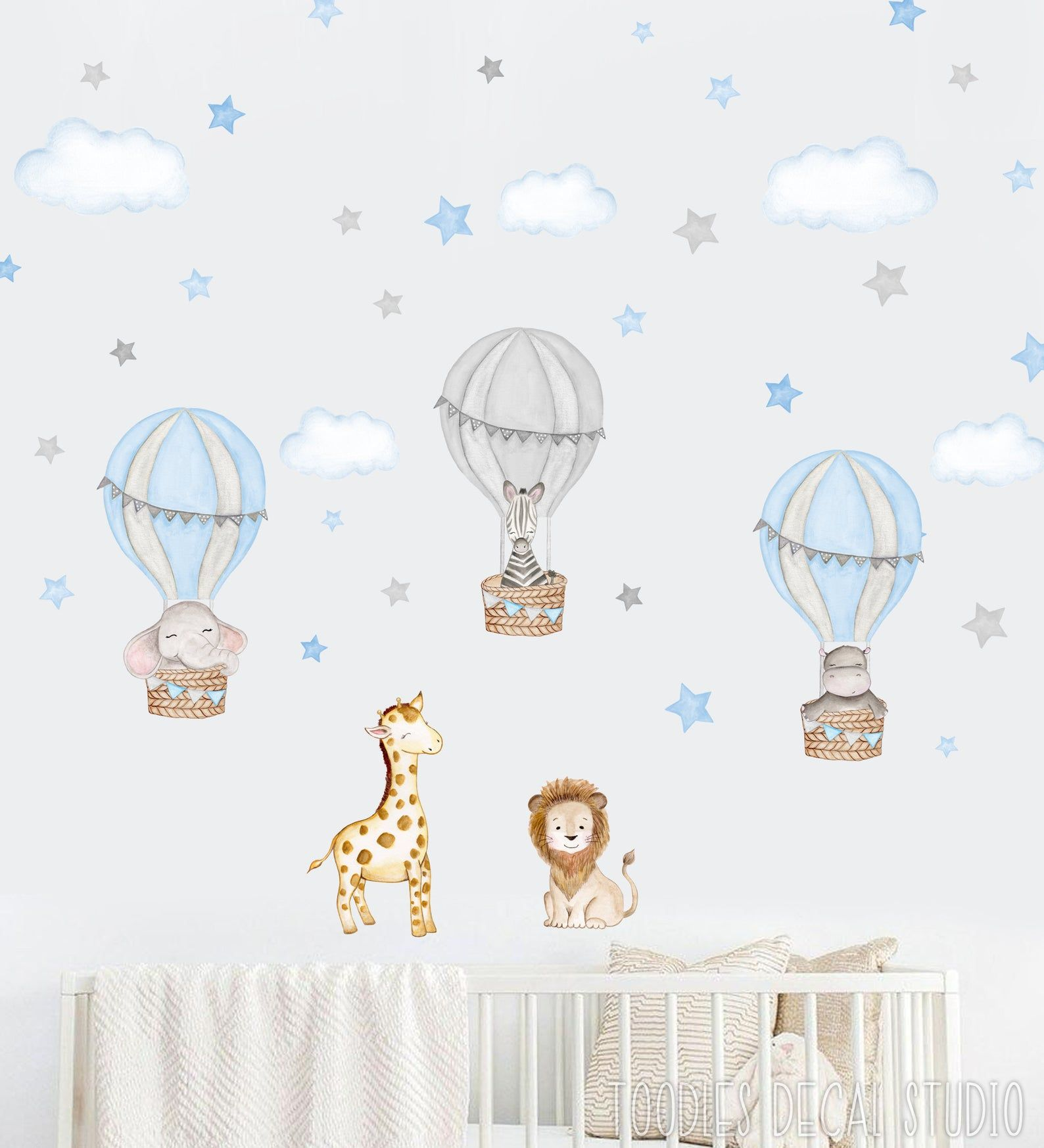 Watercolor Safari decal hot air balloons stickers cute