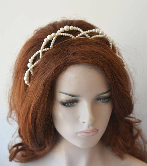 Photo of Bridal Crown Tiara, Pearl Bridal Headpiece, Wedding Pearl Tiara For Bride, Wreaths Tiaras,Hair Piece For bride, Bridal Headband, For Wedding