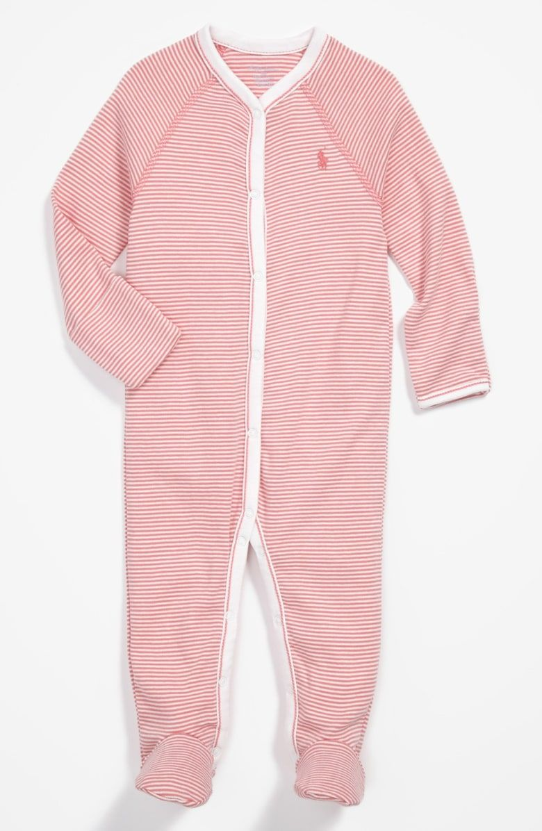31366f627ba8 Free shipping and returns on Ralph Lauren Stripe Footie (Baby Girls) at  Nordstrom.com. Iconic embroidery brands a snuggly cotton footie with crisp  contrast ...