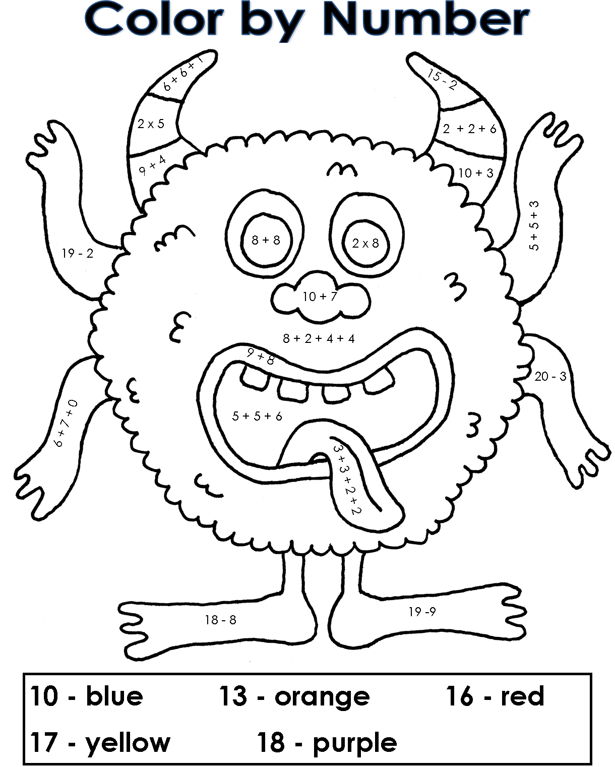 Coloring pages for double digit subtraction - Simple Mix Of Addition Subtraction And Multiplication Great For 2nd Grade Math Center