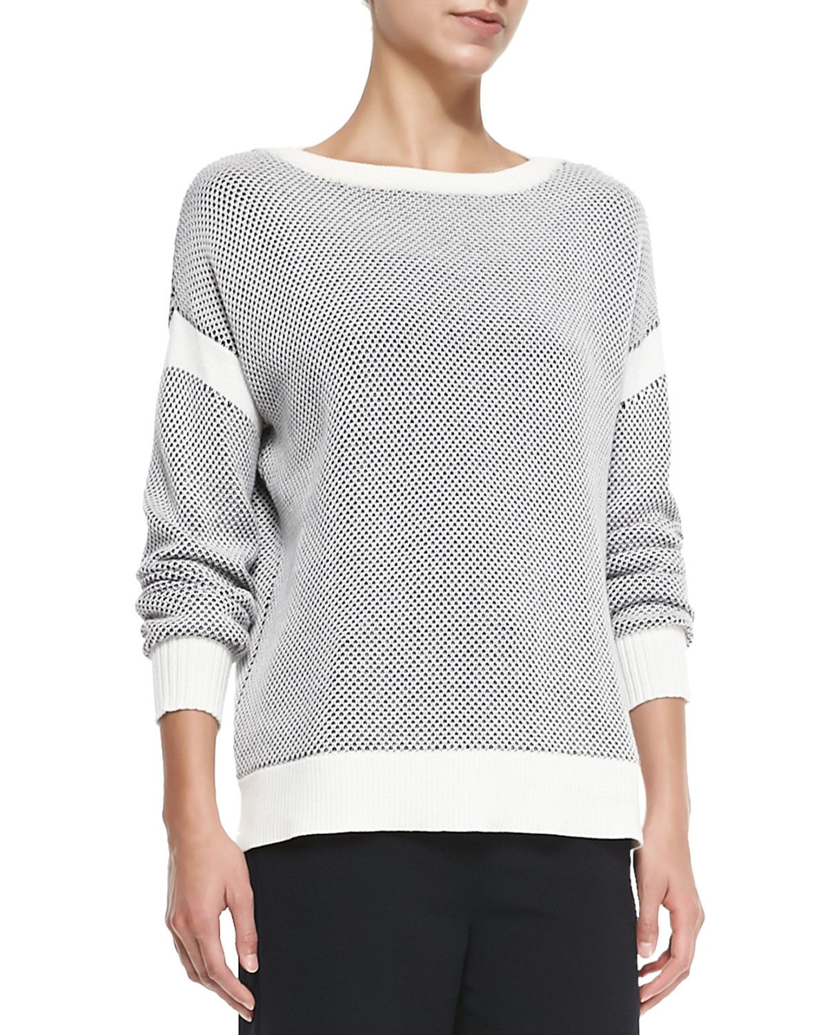 Two-Tone Perforated Knit Sweater, Off White/Coastal - Vince