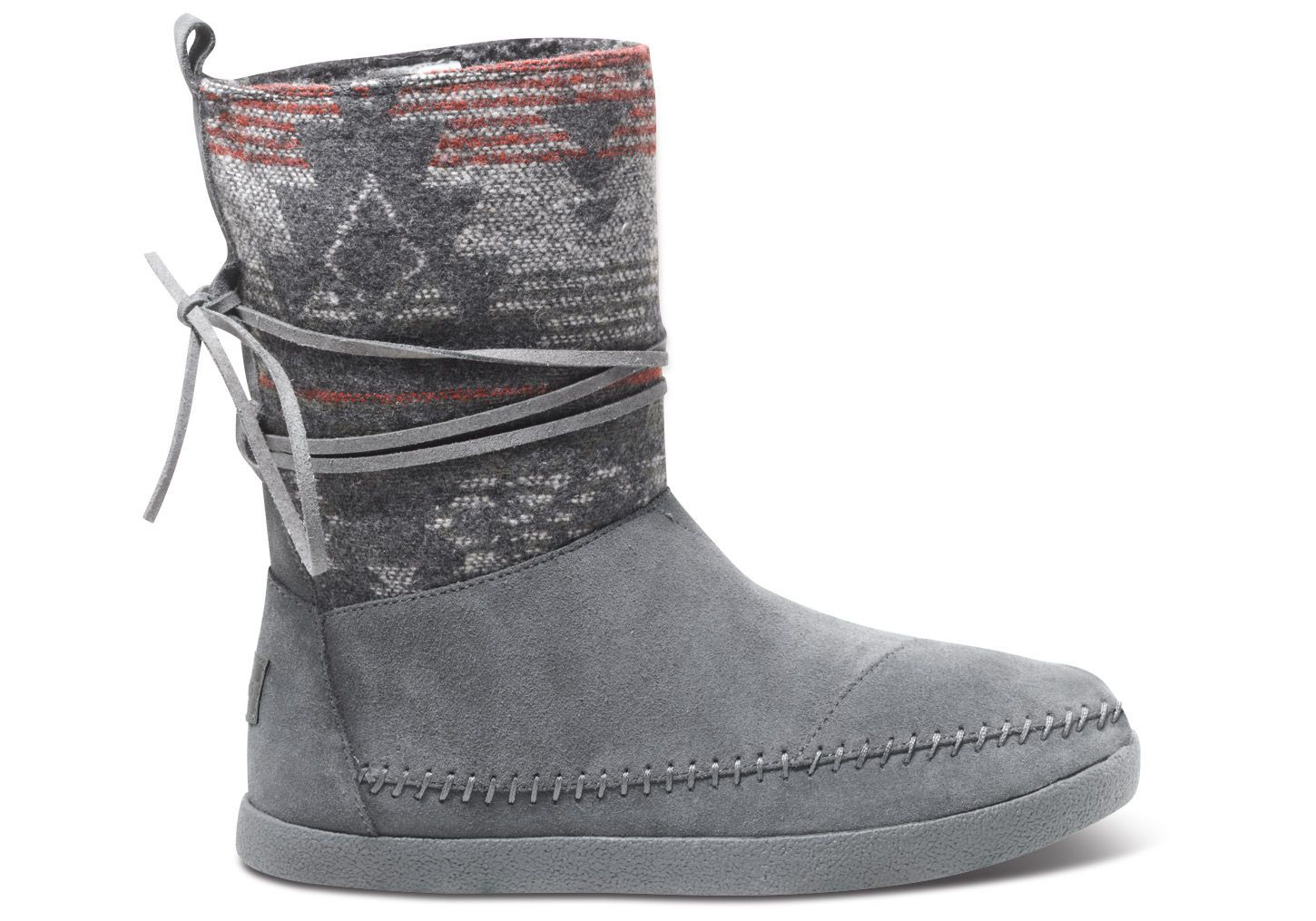 Grey Suede Jacquard Women's Nepal Boots TOMS Soooooo cute!!!!! kind of like uggs but with the aztec print, and a different style SO CUTE!!! would LOVE these ...