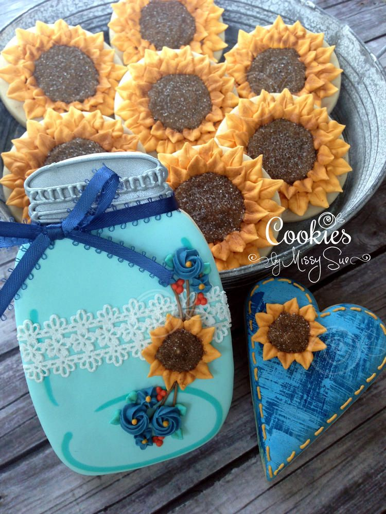 Country Sunflower Jars | Cookies by Missy Sue | Cookie Connection