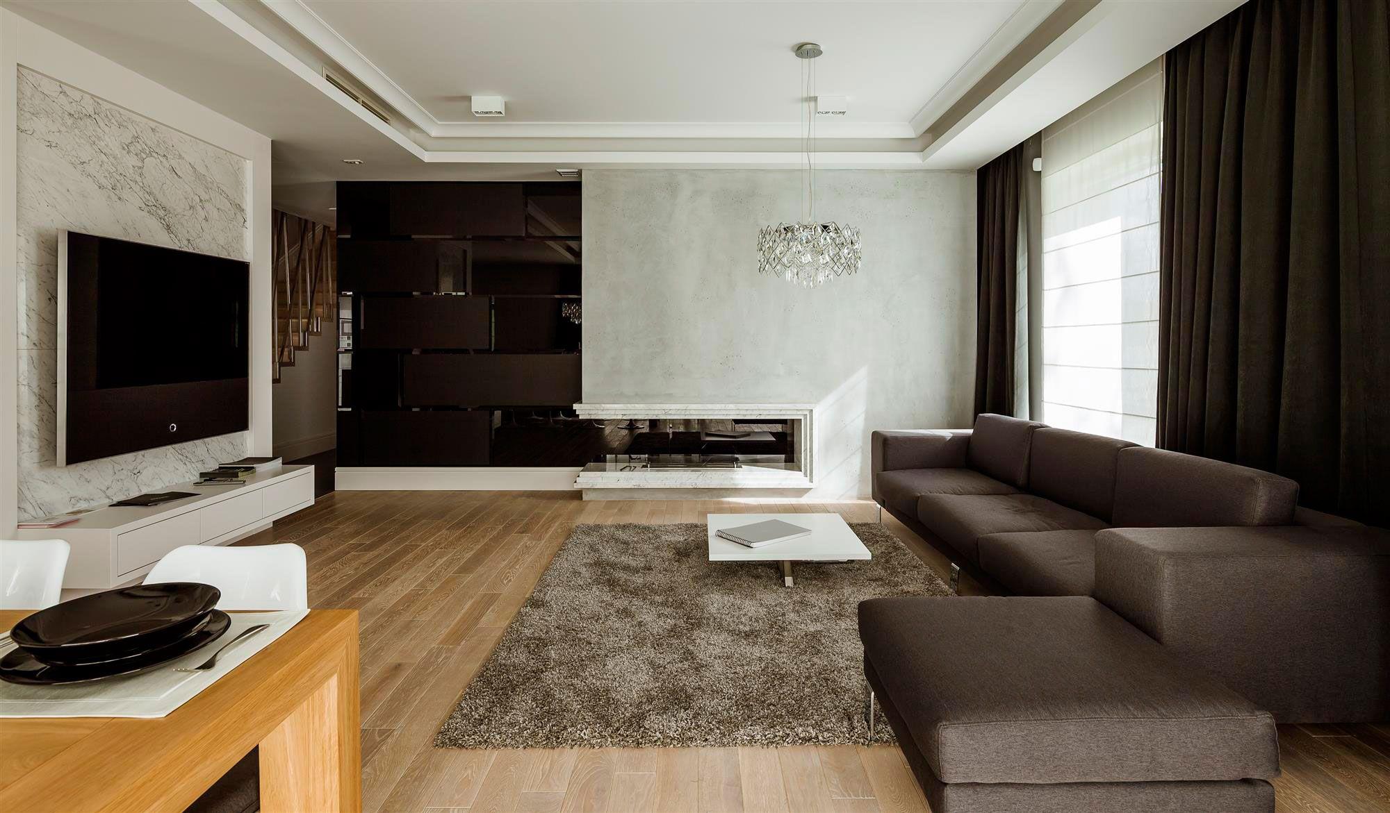 paredes! marmol, vidrio polarizado, cemento apartment in warsaw