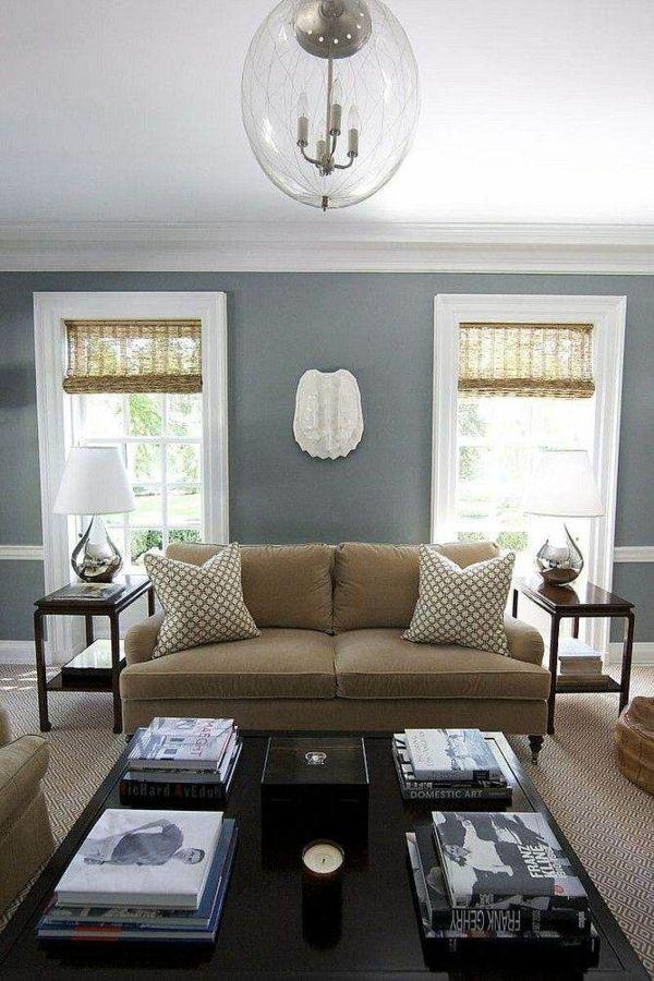 Wohnzimmer Farbideen Modern Wandgestaltung Grün Möbel In Braun