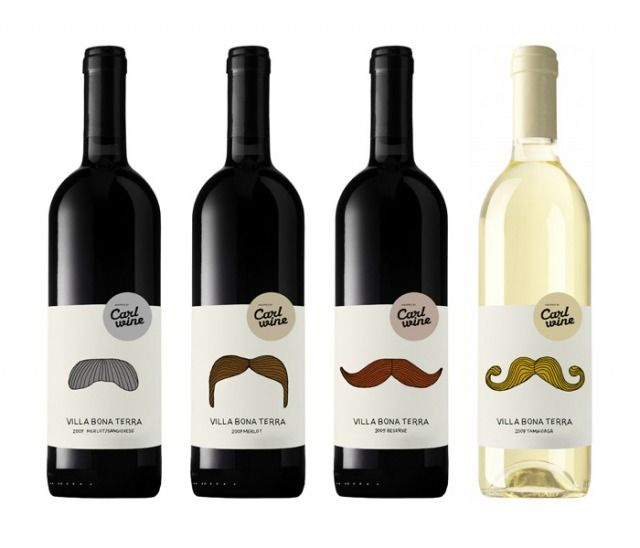 Humorous wine bottle labels designed by danish designers Pia Storm & Rine Boland Folden.  Carl wine is an independent and family owned company founted in 1973 by Erling Carl, and currently under the management and ownership of his two sons, Michael and Gert Carl. During its more than 35 years of existence the company has developed from a one-man operation, to a business group with wine production in Bordeaux and Romania.  The Romanian low-medium prized wines are sold in discount grosery…