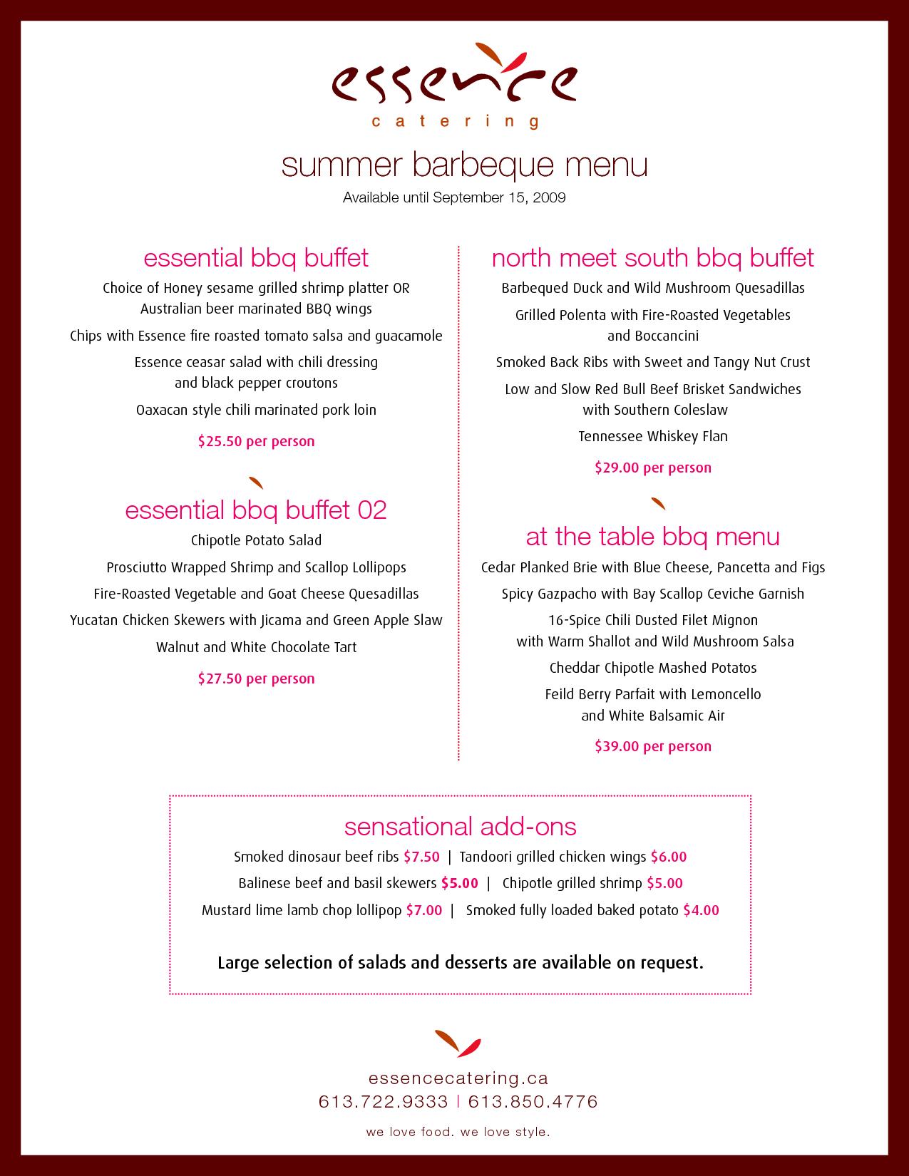 summer bbq buffet menus
