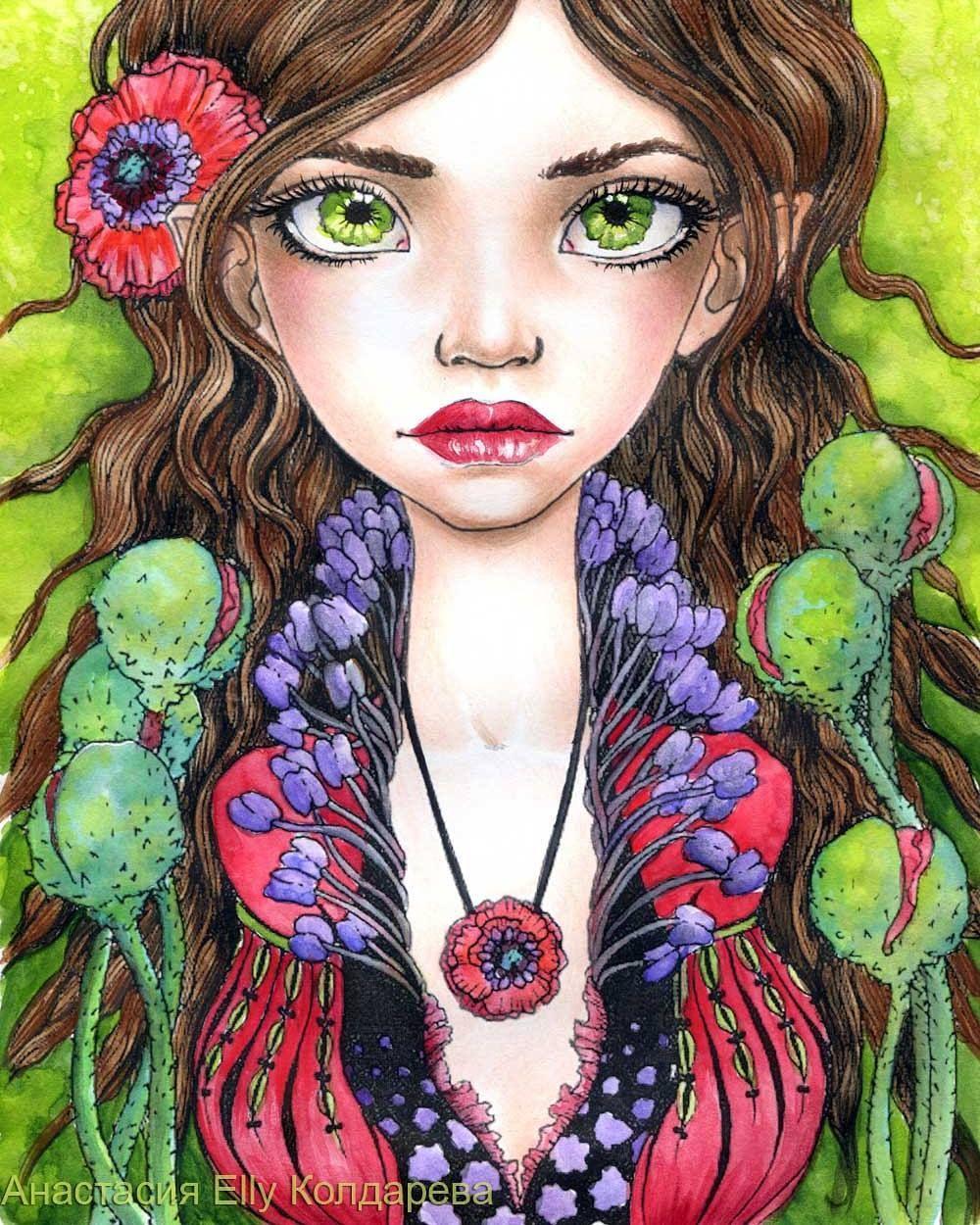 Раскраска Тани Бонд, акварель, цветные карандаши (лицо ...
