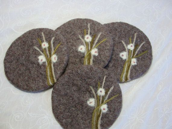 Wool Felted Fawn Color Coasters with Needle Felted by Susietoos