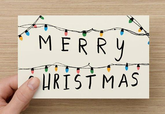 Merry Christmas Greeting Card Stranger Things Inspired Cute