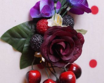 Dark red rose and fruit rockabilly hair clip with cherry's and berry's