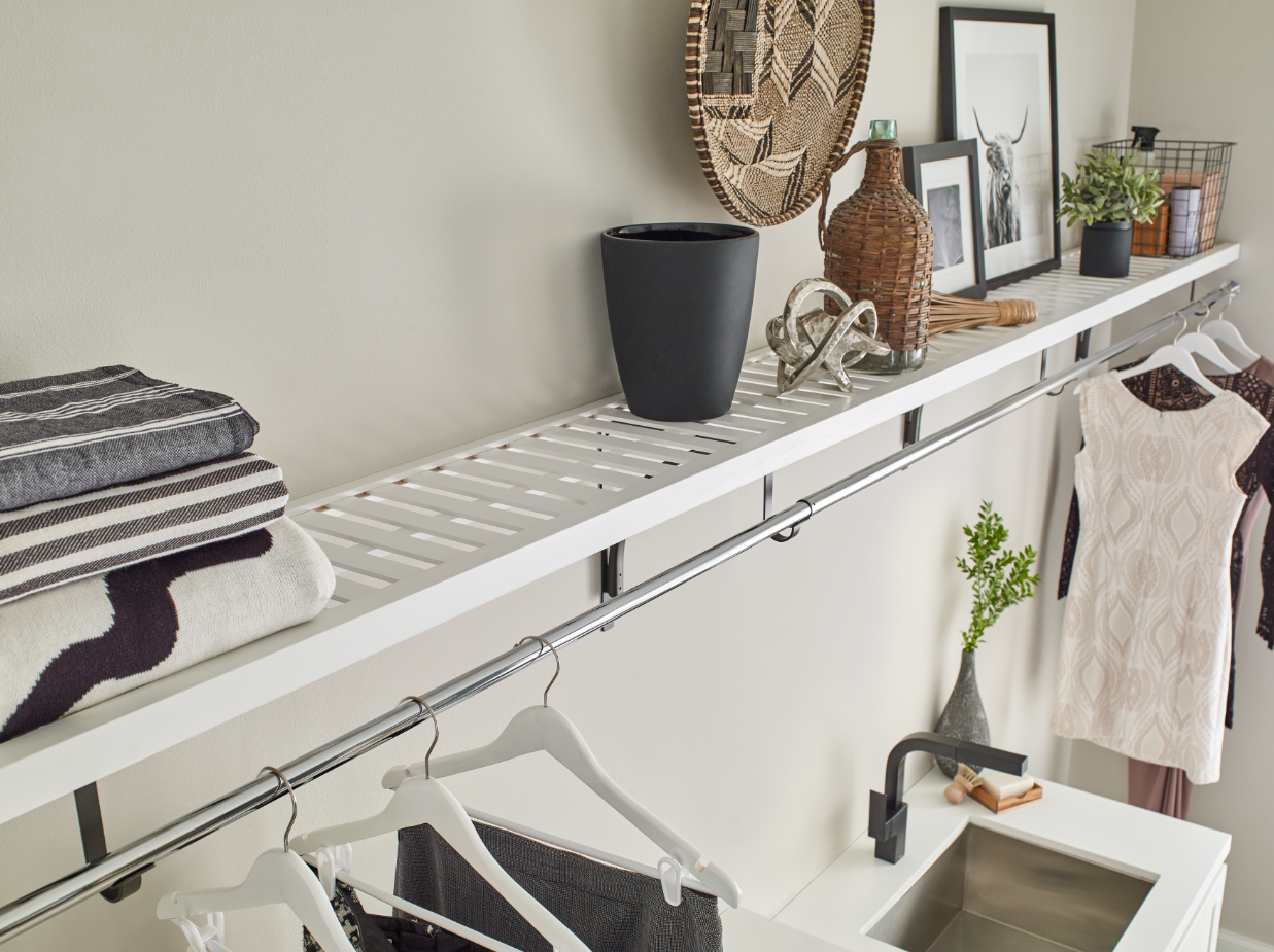 Add A Ventilated Wood Shelf In The Laundry Room To Double As