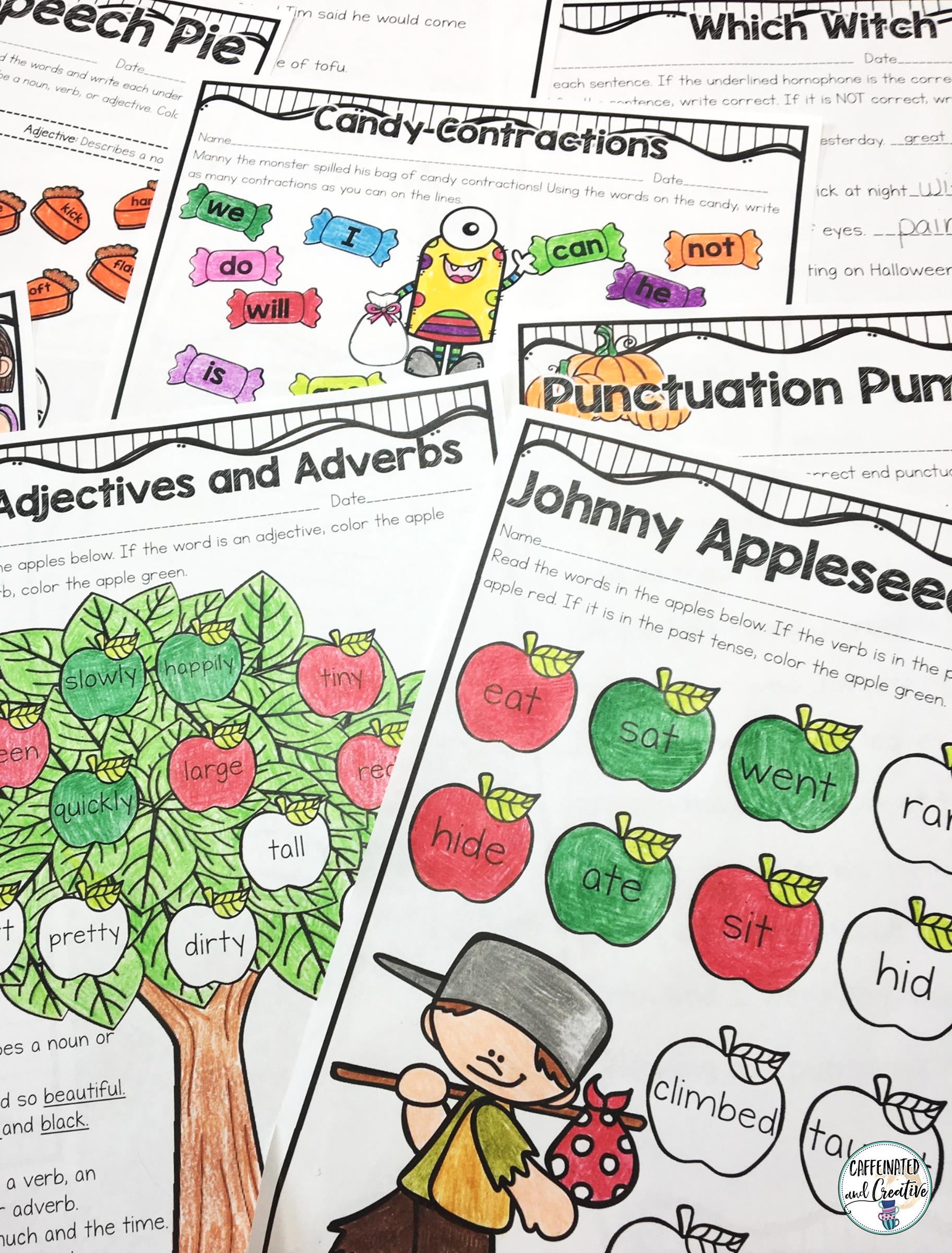 Fall Literacy Pack No Prep Second Grade