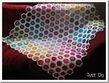 Color Wheel Summer Hexagon Blanket from Just-Do (16 skeins of white + colors. Approx 1350 grams)